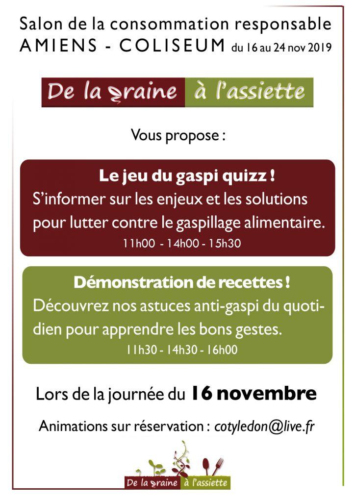 De La Graine à l'Assiette au Salon de la Consommation responsable - Amiens 16 novembre 2019